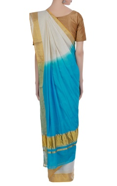 Dyed color handloom cotton sari with unstitched blouse