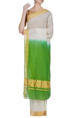 Dual color handloom cotton sari with unstitched blouse