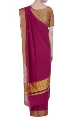Handloom pure cotton zari work pallu sari & unstitched blouse