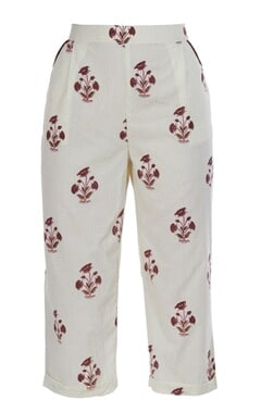 Floral printed high-waist pants