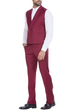 Marsala wool blen double breasted waistcoat