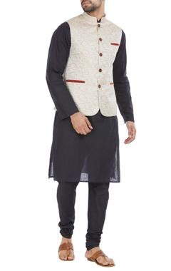 Beige blended velvet trim nehru jacket