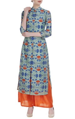 SOUP by Sougat Paul Chanderi floral printed kurta with orange palazzos