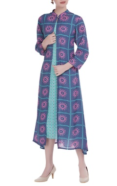 SOUP by Sougat Paul Cotton silk printed sleeveless dress with jacket