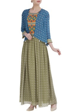 SOUP by Sougat Paul Crepe silk printed maxi dress with jacket