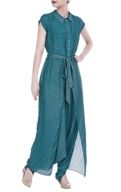 SOUP by Sougat Paul Satin printed jumpsuit with flap layer