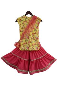 Printed kurta with sharara pants with dupatta
