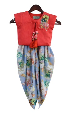 Embroidered jacket top with dhoti pants