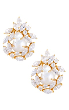 Persian style baroque pearl stud earrings