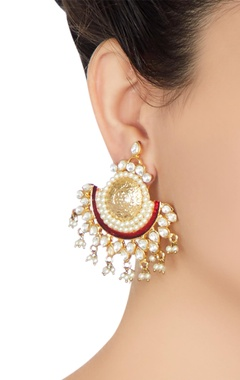 Pearl & kundan ethnic themed earrings