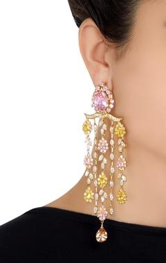 Long tangling multicolor earrings
