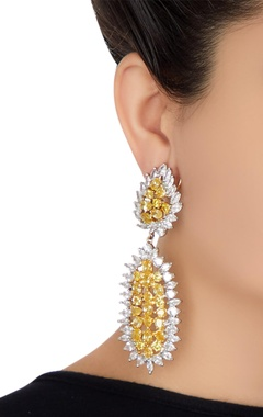 Dangling crystal embellished cocktail earrings
