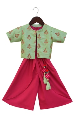 Crop top and dhoti pants with embroidered open jacket