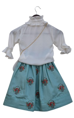 Frilly shirt blouse with embroidered lehenga