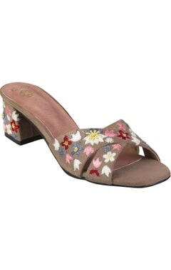 Crimzon Hand embroidered floral block heels