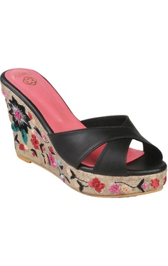 Crimzon Floral embroidered wedge heels with napa leather straps