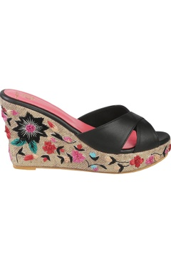 Floral embroidered wedge heels with napa leather straps