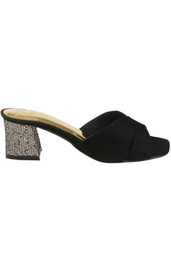 Suede mules with glitter block heels