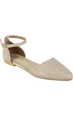 Crimzon Glitter finish d'orsay loafers with ankle straps