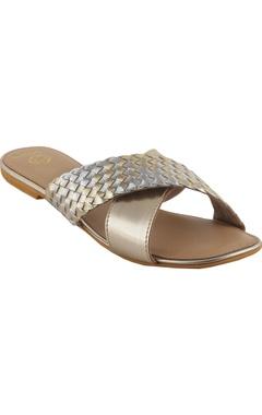 Crimzon Woven cross-strap flat sandals
