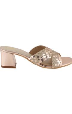 Woven cross-strap heel sandals