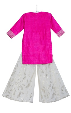 Embroidered yoke kurta with palazzo and dupatta