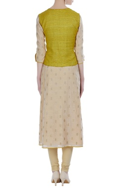 Sequin embroidered kurta with yellow jacket