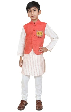 Chiquitita kids couture by Payal Bahl Owl motif embroidered jacket with kurta and churidar