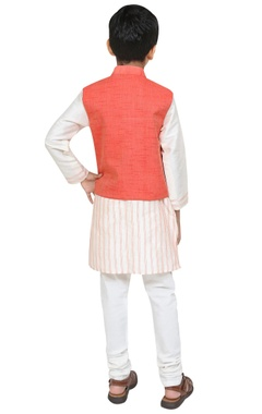 Owl motif embroidered jacket with kurta and churidar