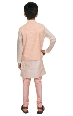 Threadwork embroidered jacket with kurta and churidar