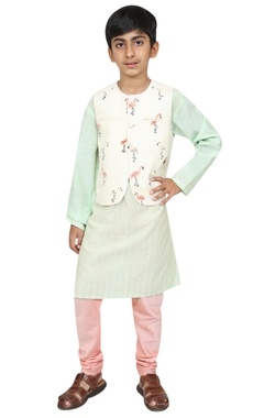 Chiquitita kids couture by Payal Bahl Flamingo motif embroidered jacket with kurta and churidar