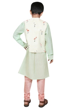 Flamingo motif embroidered jacket with kurta and churidar