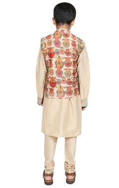 Printed nehru jacket with kurta and churidar
