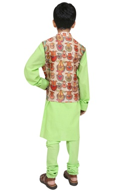 Printed jacket with kurta and churidar