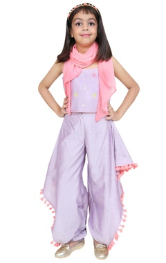 Chiquitita kids couture by Payal Bahl Cowl dhoti pants with spaghetti sleeves blouse and scarf