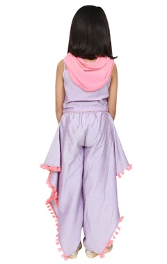 Cowl dhoti pants with spaghetti sleeves blouse and scarf