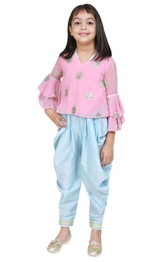 Chiquitita kids couture by Payal Bahl Embroidered bell sleeves top with dhoti pants