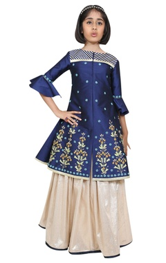 Chiquitita kids couture by Payal Bahl Embroidered jacket kurta with lehenga