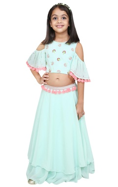 Chiquitita kids couture by Payal Bahl Cold shoulder sleeves blouse and lehenga