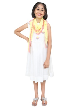 Chiquitita kids couture by Payal Bahl Threadwork embroidered dress with scarf