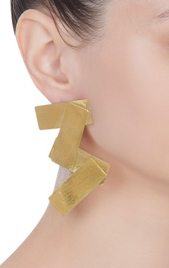 Handcrafted earrings in overlap rectangle slabs