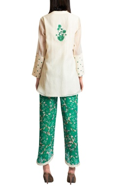 Embroidered top with printed pants