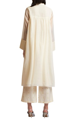 Embroidered long flared tunic & palazzo pants