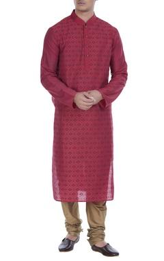 Printed mandarin collar kurta with churidar
