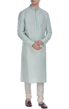 Block printed tussar silk kurta