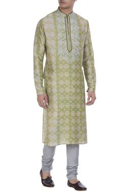 Tussar silk kurta with embroidered yoke & churidar