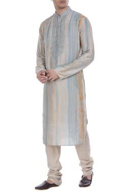 Tussar silk tie-dye kurta with churidar