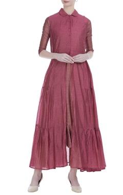 Pink silk khadi printed tier jacket tunic