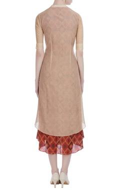 Coffee silk kora big plant embroidery midi dress