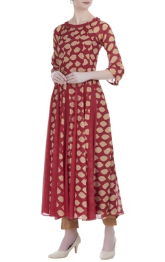 Crimson silk printed multi godet long tunic